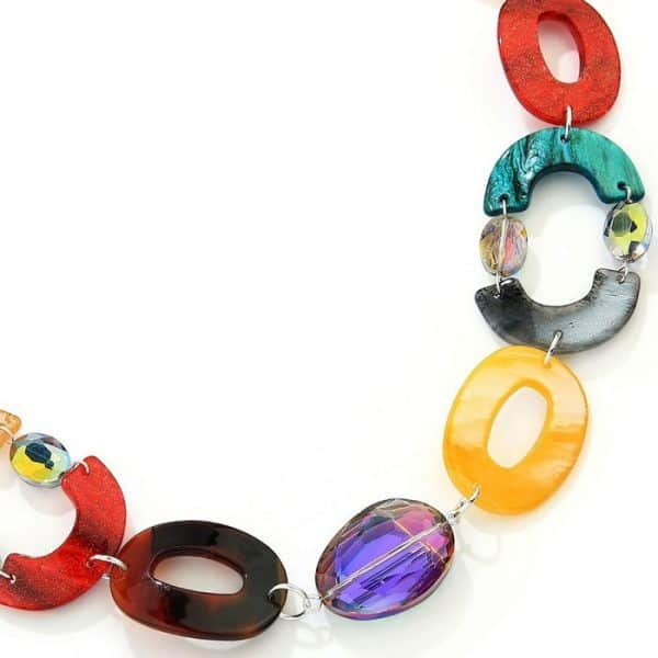 Women's multicoloured oval shaped acrylic resin and crystal long fitting necklace