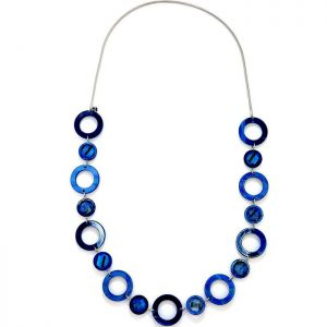 Women's blue acrylic resin and crystal disc on a silver colour chain long necklace