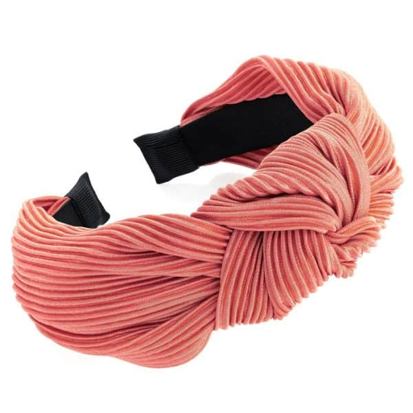 Dusty peach crinkle effect knot design headband