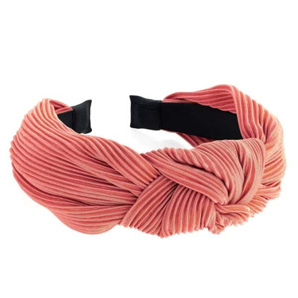 Dusty peach crinkle knot design headband