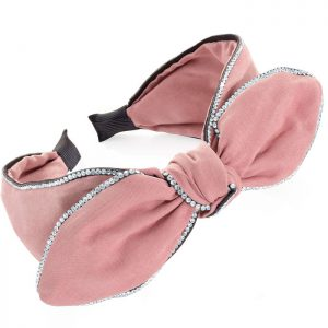 Dusty pink colour crystal bow design headband