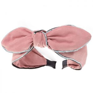 Dusty pink colour crystal bow headband