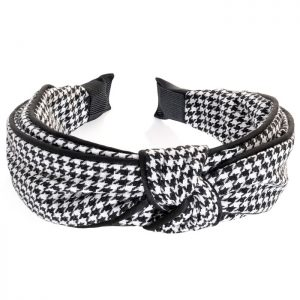 Black and white colour check print knot headband