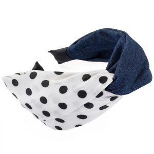 Denim blue colour cream and black polka dot print knot design headband