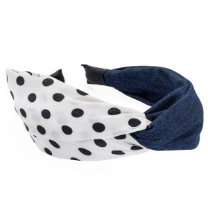 Denim blue colour cream and black polka dot print knot headband