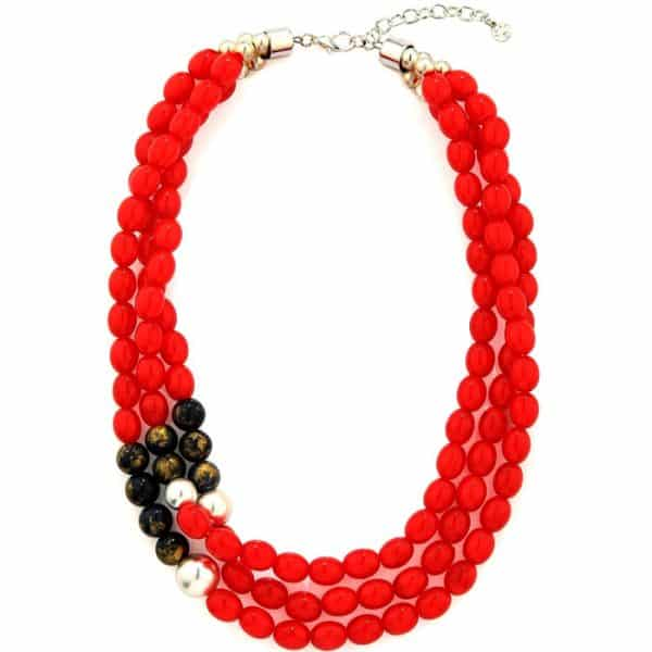 Fashion jewellery layered necklace full of red oval beads and gold-tinted black and silver beads