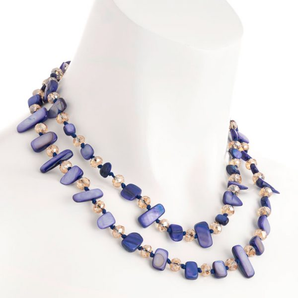 Two row with draping purple colour stone and crystal choker necklace