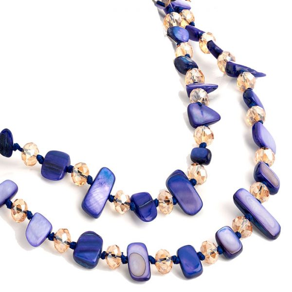 Costume jewellery two row with draping purple colour stone and crystal choker necklace