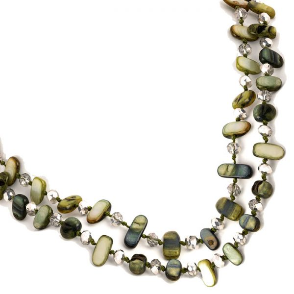 Two row draping green colour stone and crystal choker necklace