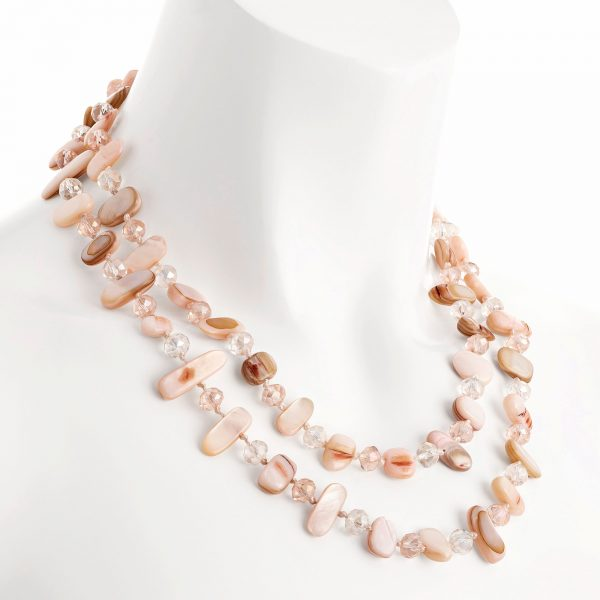 Two-row with draping pink colour stone and crystal choker necklace