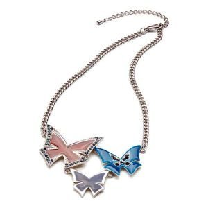 Colourful enamel butterflies with crystal set silver plated costume fashion jewellery necklace