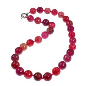 Semi precious purple and pink mixed colour agate bead stone choker necklace