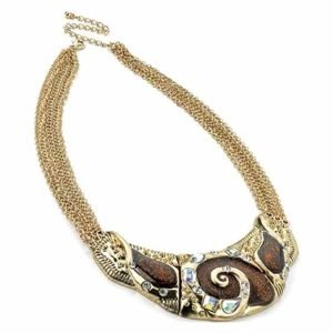 Crystal antique gold brown multi chain half moon necklace