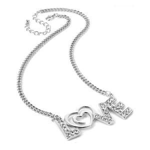 Valentines love silver colour crystal stone chain necklace