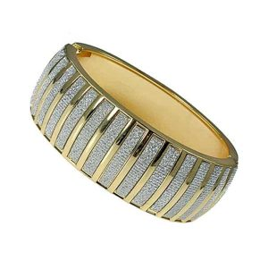 Fashion costume jewellery women's gold oval striped diamond glitter bangle