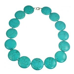 Semi precious turquoise circular round shape stone choker necklace