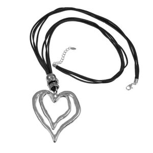 Chunky silver heart pendant on a black suede leather fashion jewellery necklace