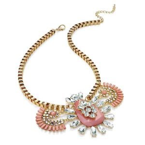 Statement gold AB crystal diamante & pink stone choker necklace