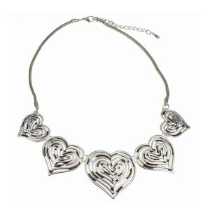 Statement antique silver large graduated linked five heart valentine's choker necklace
