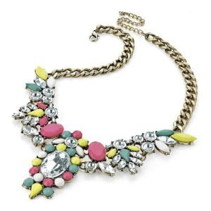 Burnish gold colour chunky multicolour imitation stones with crystal choker necklace