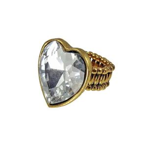 Large women's heart diamante stone gold ring