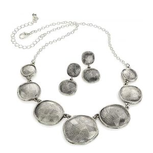 Textured shaped disc necklace and earring jewellery set