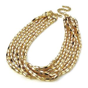 Six row woman's gold colour chain choker necklace