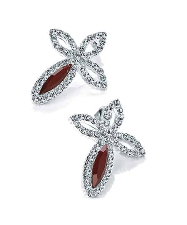 Costume jewellery silver crystal red stone cross earring studs