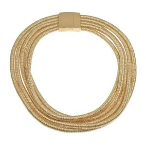 Graduated five layers rose gold colour choker chain necklace with magnetic clasp