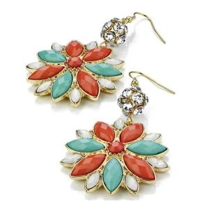 Flower style fashion costume jewellery mixed colour stones gold earrings