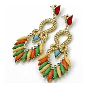 Very long dangling gold plated multi rainbow colour imitation stone stud earrings