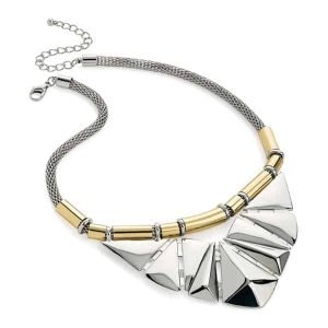 Statement jewellery art deco style design two tone choker necklace