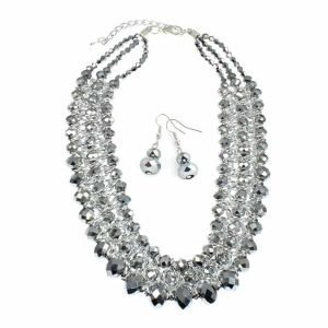 Silver colour woven wire glass crystal layered earrings necklace set