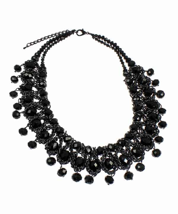 black colour woven wire glass crystal layered statement choker necklace