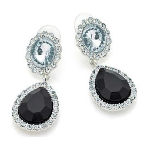 Black tone and crystal set silver colour dangling women's stud earrings