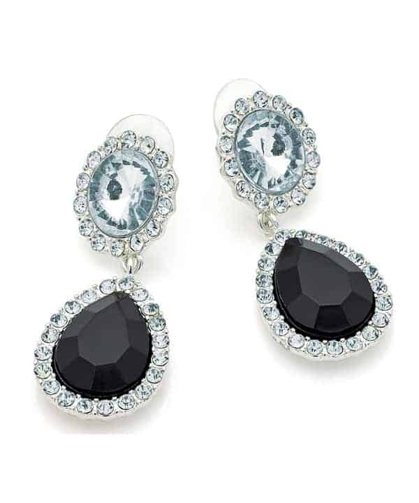 Black and crystal set silver colour dangling stud earrings