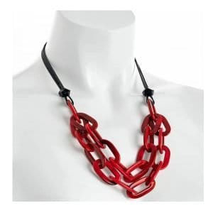 Fashion jewellery fancy two row red colour resin oval link cord choker necklace