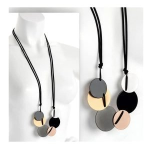 Six multicoloured round disc charms black cord long necklace