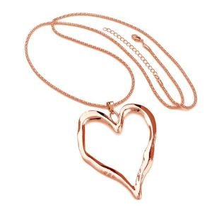 Lagenlook rose gold plated large heart pendant fashion jewellery long necklace