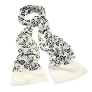 Beautiful polyester cream & black colour music note print scarf