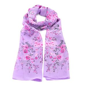 Beautiful colourful lilac flower printed style scarf