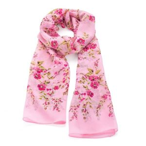 Beautiful colourful flower design image printed pink scarf