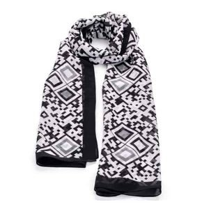 Black and white colour square design images printed scarf