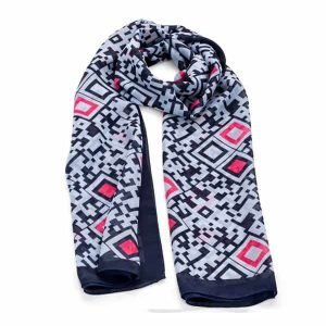 Colourful abstract square shape design printed scarf