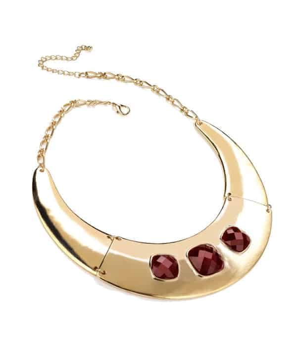 Womens fashion golden effect half moon red stone collar necklace