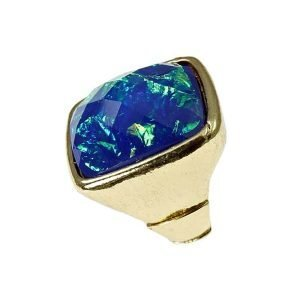 New York style square faceted gold cocktail ring