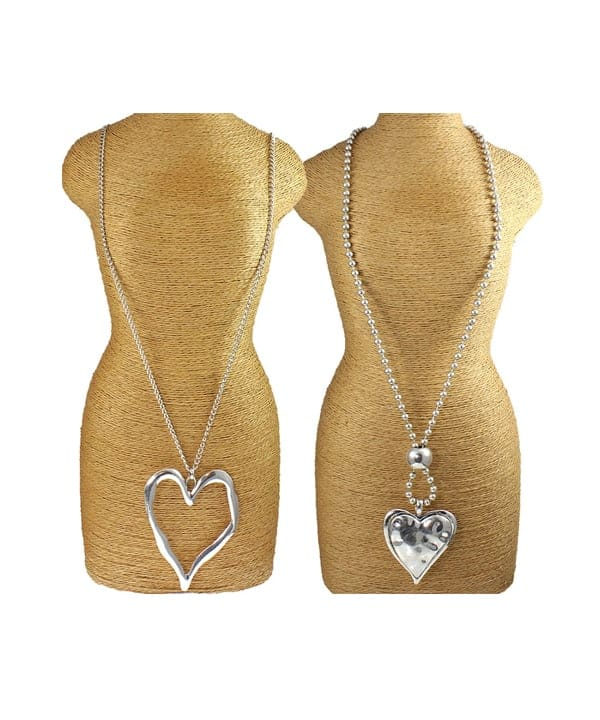 Two large silver heart pendant costume jewellery necklace designs