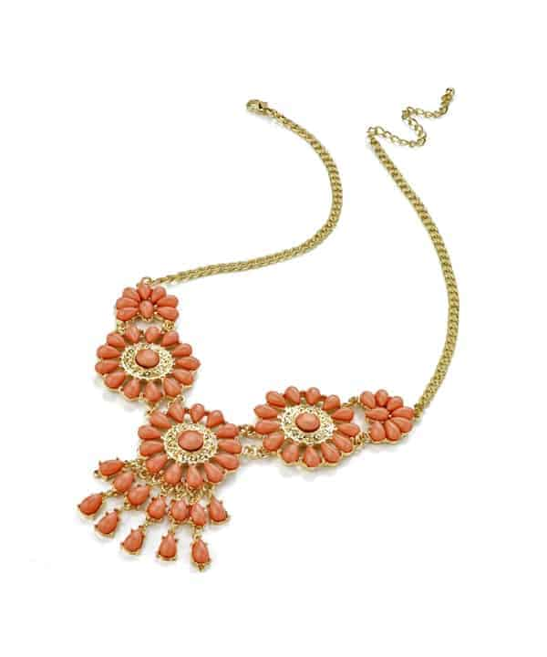 Gold plated costume jewellery with imitation pink stones choker necklace