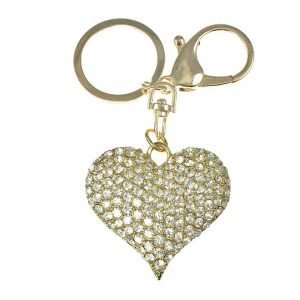 Cubic zirconia encrusted unique heart 3D gold plated handbag charm or keyring accessory costume fashion jewellery