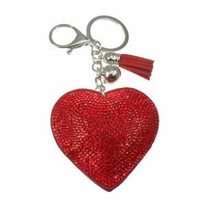 Huge oversized red crystal encrusted fabric puffy heart keyring and handbag accessory